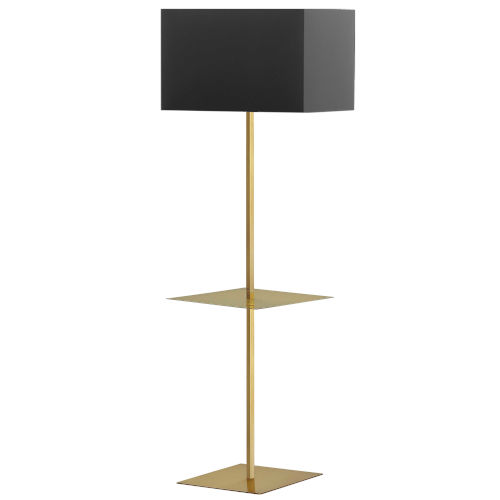 Tablero Aged Brass with Black Gold One-Light Floor Lamp with Square Shelf
