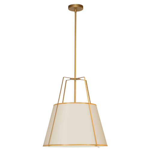 Trapezoid Cream and Gold One-Light Round Pendant
