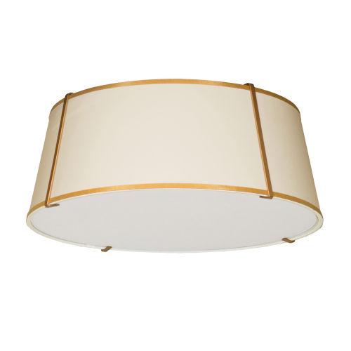Trapezoid Cream and Gold Four-Light Flush Mount