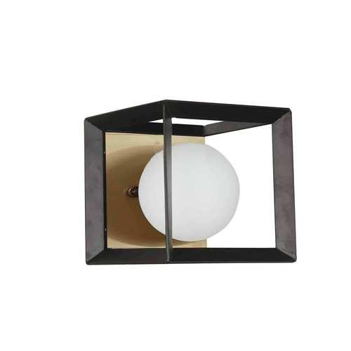 Black Aged Brass with White One-Light Bath Vanity