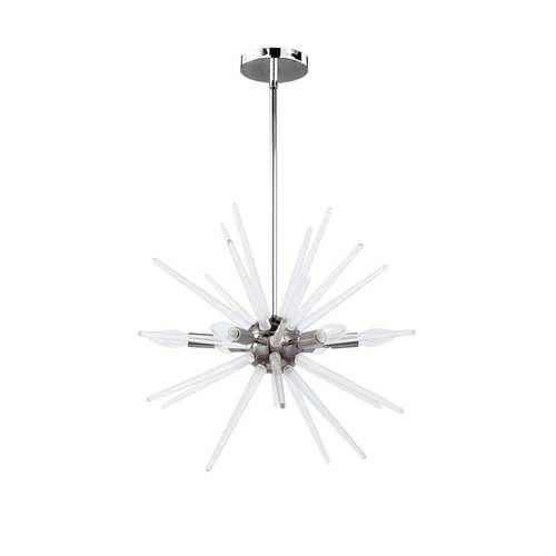 Vela Polished Chrome with Clear Six-Light Pendant