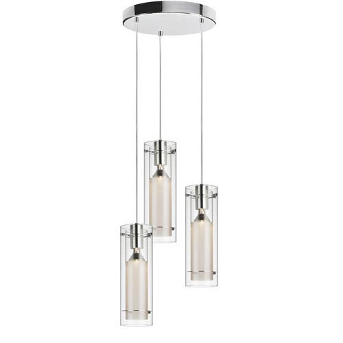 Clear round glass lighting pendant bellacor dainolite polished chrome three light mini pendant with round canopy clear glass and frosted aloadofball Images
