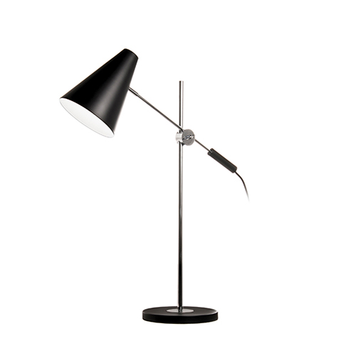 Black and Polished Chrome 23-Inch One-Light Table Lamp