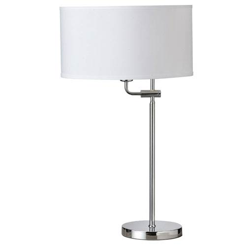 Dainolite Polished Chrome One-Light Adjustable Table Lamp with White Shade