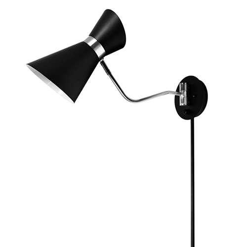 Cameron Black and Polished Chrome 6-Inch One-Light Swing Arm Lamp
