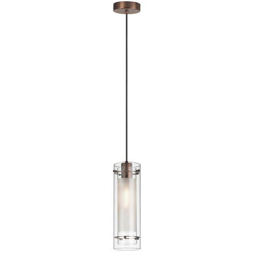 Oil Brushed Bronze One-Light Mini Pendant with Clear Glass with Frosted Insert