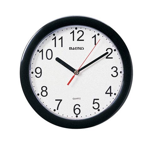 Black 8-Inch Round Wall Clock