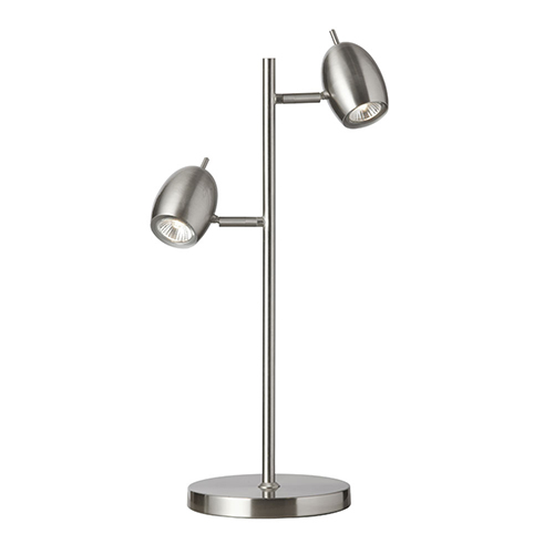 Satin Chrome 13-Inch Two-Light Table Lamp