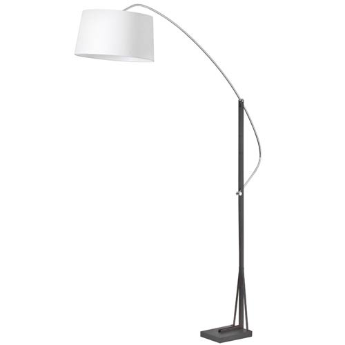 Polished Chrome and Matte Black One Light Arc Floor Lamp with White Linen Shade