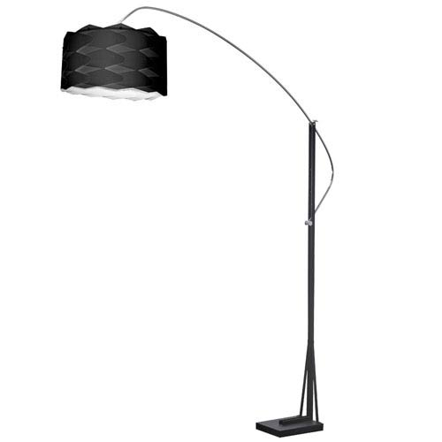 Polished Chrome and Matte Black One-Light 18-Inch Floor Lamp with Black Shade