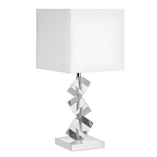 Polished Chrome One-Light Crystal Cubes Table Lamp with White Shade