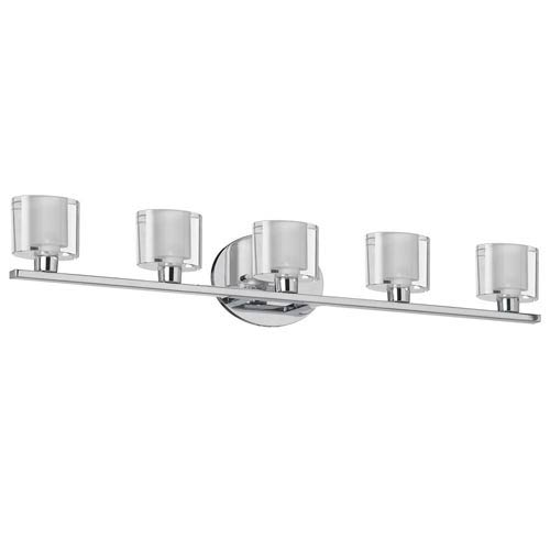 Polished Chrome Five-Light Bath Light with Oval Frosted Glass