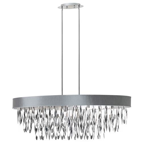 Dainolite Allegro Polished Chrome Eight Light Oval Chandelier with Silver Shade