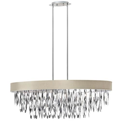 Dainolite Allegro Polished Chrome Eight-Light Oval Chandelier with Pebble Shade