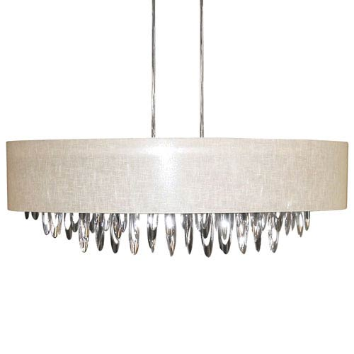 Allegro Polished Chrome Eight-Light Oval Chandelier with Cream  Shade