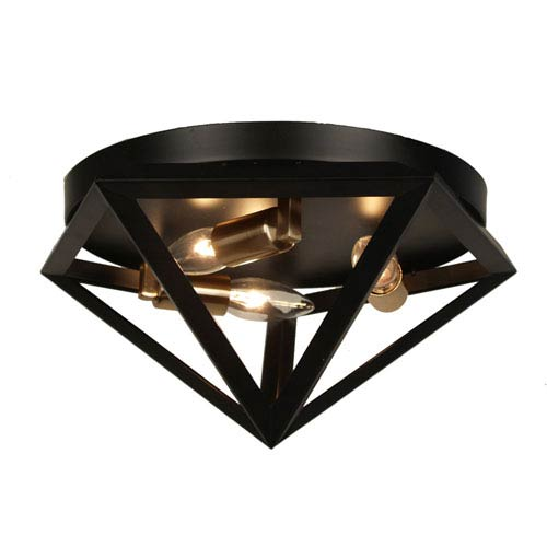 Archello Matte Black Three-Light  12-Inch Flush Mount