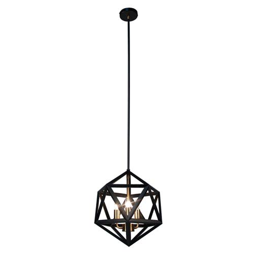 Archello Matte Black Three-Light  13-Inch Pendant with Antique Brass Accents