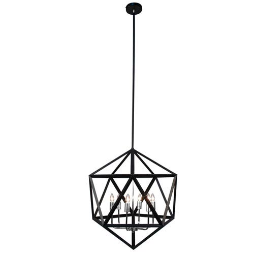 Archello Matte Black Six-Light  22-Inch Pendant with Satin Chrome Accents