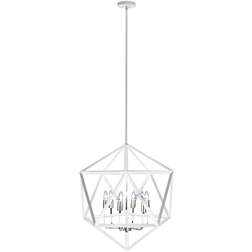 Archello Matte White with Satin Chrome Accents 22-Inch Six-Light Chandelier