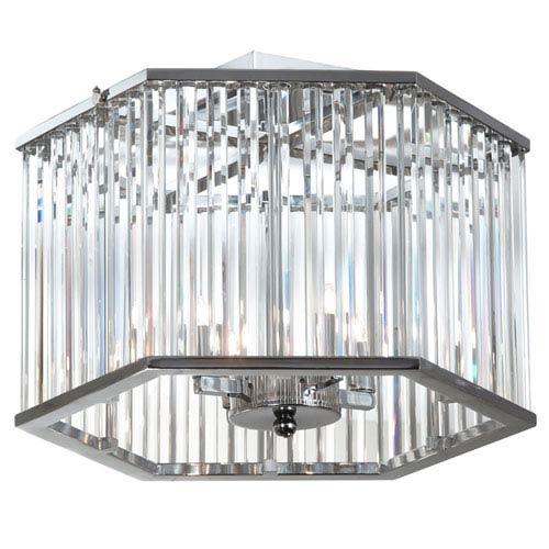 Aruba Polished Chrome Four-Light Crystal Semi-Flush Mount