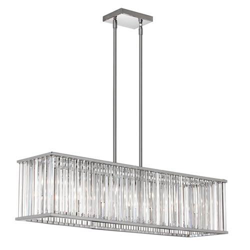 Aruba Polished Chrome Seven Light Horizontal Crystal Chandelier