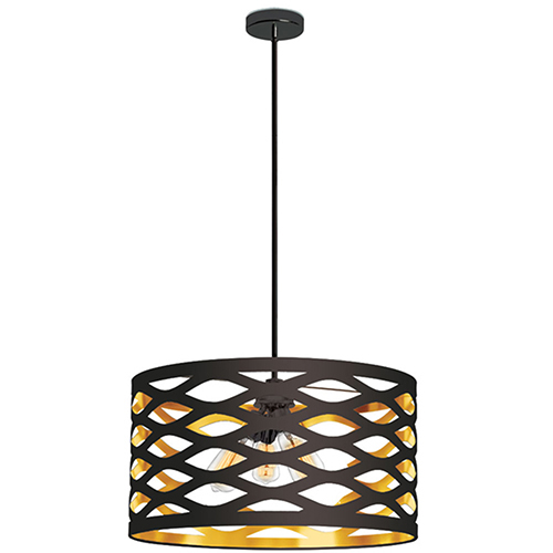 Dainolite Cutouts Black and Gold 22-Inch Four-Light Pendant