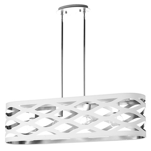 Cutouts White and Silver 33-Inch Four-Light Pendant