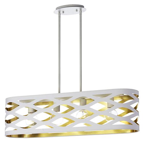 Dainolite Cutouts White and Gold 33-Inch Four-Light Pendant