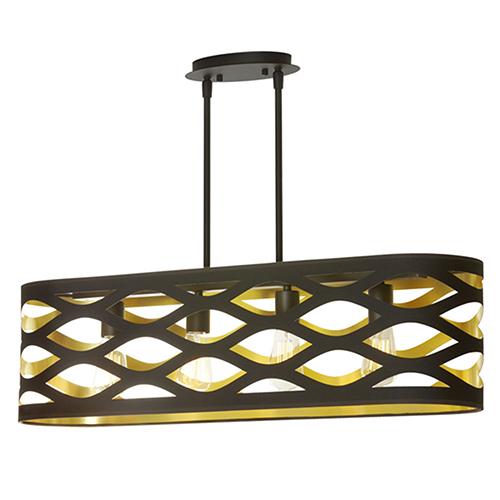 Dainolite Cutouts Black and Gold 33-Inch Four-Light Pendant