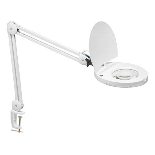 Dainolite White One-Light Fluorescent Magnifier Lamp with 5D Lens