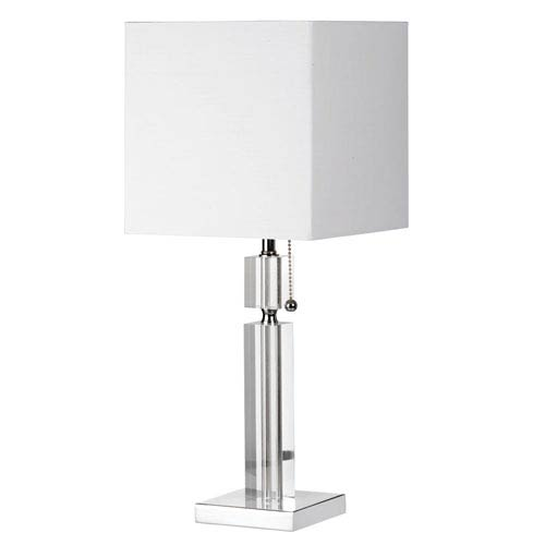 Crystal One-Light Acrylic and Polished Chrome Table Lamp w/ Square White Linen Shade