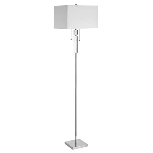 Dainolite Crystal Two Light Acrylic And Polished Chrome Floor Lamp W Square White Shade