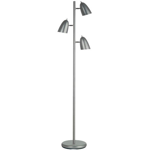 Satin Chrome Three-Head Adjustable Floor Lamp