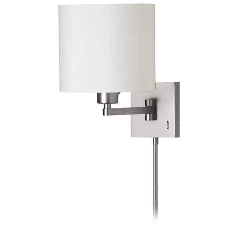 Satin Chrome One-Light 16-Inch Swing Arm Wall Sconce