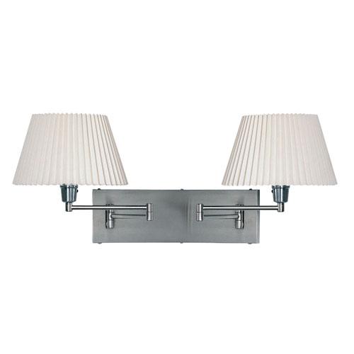 Dainolite Two-Light Satin Chrome Double Swing-Arm Wall Lamp w/ Plain Linen White Shades
