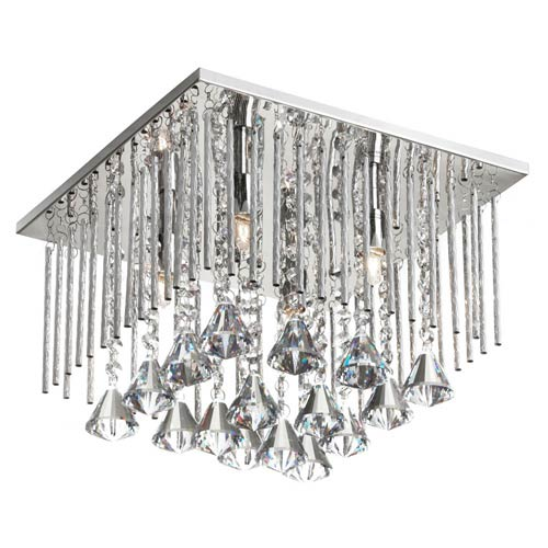 Dainolite Jacqueline Polished Chrome Four Light Crystal Square Flush Mount