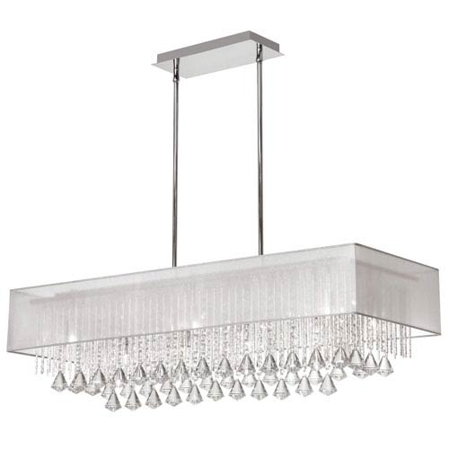 Jacqueline Ten Light Horizontal Crystal Pendant with White Shade