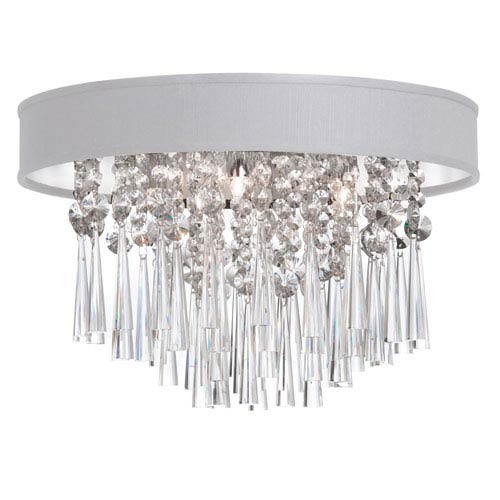 Dainolite Josephine Four Light Crystal Flush Mount Fixture with White Baroness Micro Shade