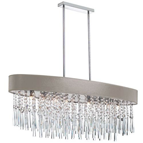 Josephine Polished Chrome Eight-Light Chandelier with Pebble Shade