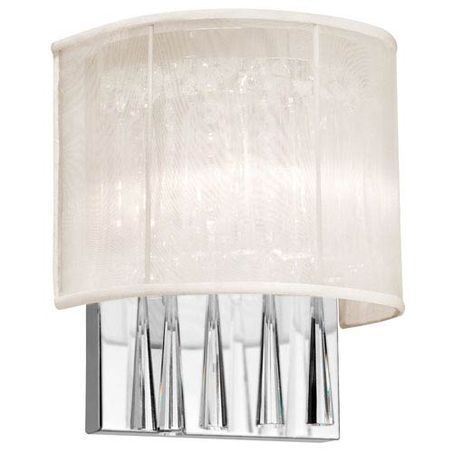 Dainolite Josephine Two-Light Crystal Wall Sconce with Oyster Shade