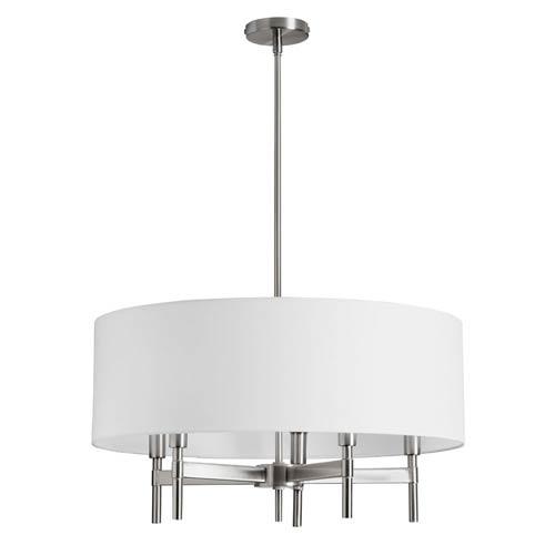Dainolite Larkin Satin Chrome Five Light Chandelier With White Linen Drum Shade