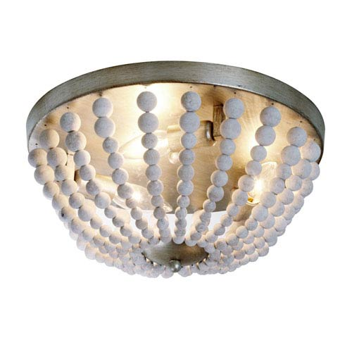 Laura White Washed Three-Light  14-Inch Flush Mount