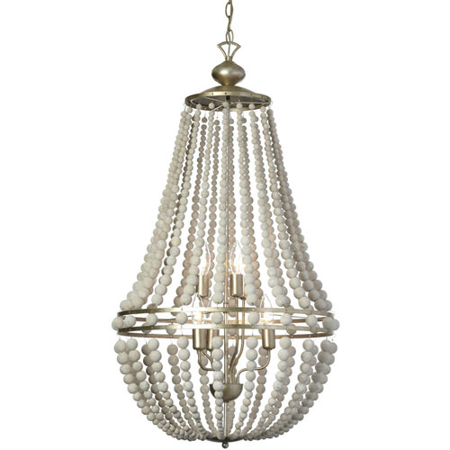Laura White Washed Six-Light  21-Inch Chandelier with Palladium Gold Trim
