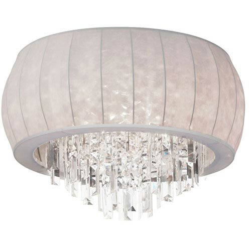 Dainolite Maya Eight Light Crystal Flush Mount Fixture with White Lycra Shade