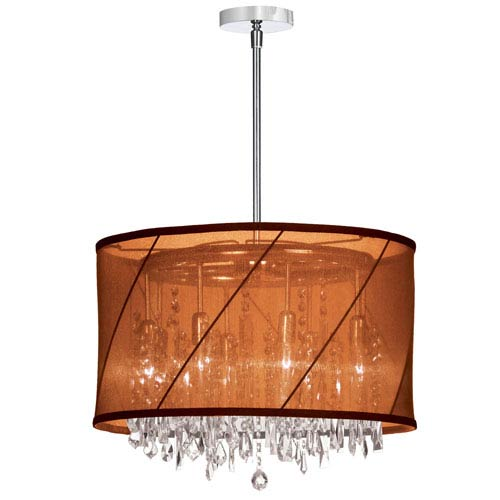 Dainolite Saffron Polished Chrome 12-Inch Six Light Chandelier with Chocolate Rust Shade