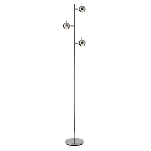 Dainolite Functional Polished Chrome Three Light Floor Lamp