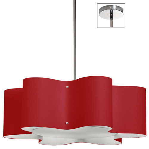 Zulu Red 24-Inch Three-Light Wave Pendant