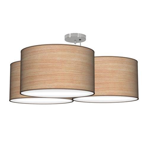 Tryptic Photo Wood Veneer 32-Inch Three-Light Pendant