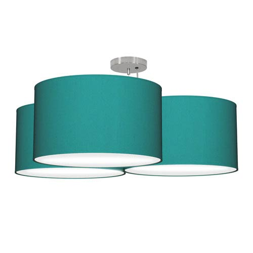 Tryptic Silk Turquoise 32-Inch Three-Light Pendant