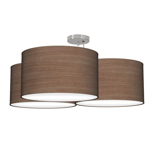 Tryptic Walnut Photo Wood Veneer 32-Inch Three-Light Pendant